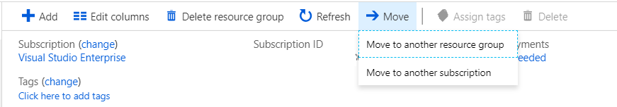 Move Azure resources to another subscription or resource group