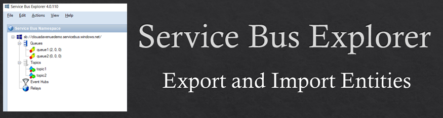 Export and Import entities with set configurations and Authorization Rules using Servicebus Explorer