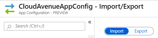 Import and export configuration in Azure App Configuration Store